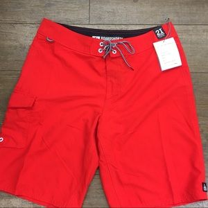 NWT Reef board shorts red lifeguard 32
